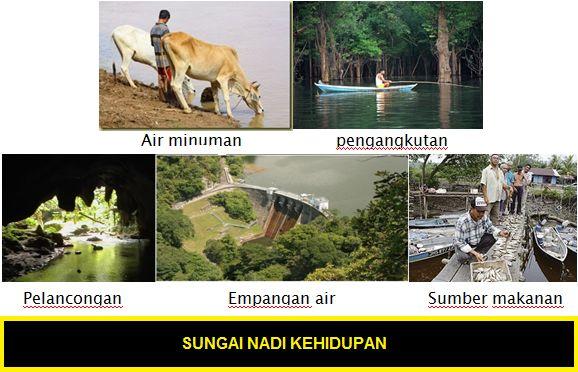 sungai merupakan nadi kehidupan semua benda hidup termasuk manusia haiwan dan hidupan lainnya sungai memberikan sumber air bersih kepada kita untuk