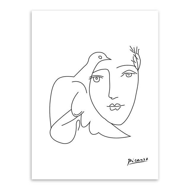 Poster Tema Lingkungan Hebat Picasso Abstrak Gambar Garis Minimalis Modern Kanvas Seni Lukisan