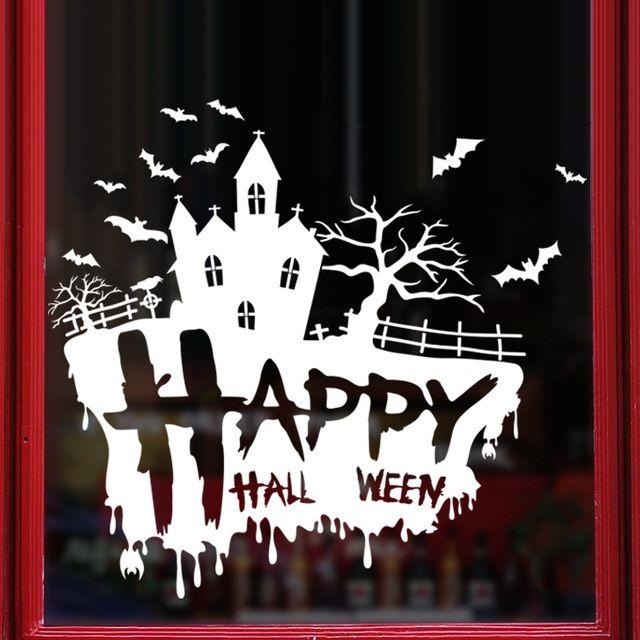 baru happy halloween stiker dapat dilepaskan halloween festival dekor hitam diy dinding stiker poster wallpaper pesta