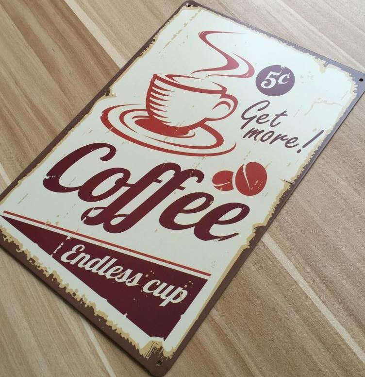 ro x 0402 baru kedatangan tentang cangkir kopi lukisan logam vintage tanda timah dekorasi rumah poster wall art craft sticker 20x30 cm