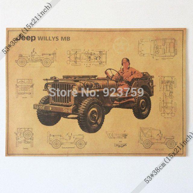Poster Terbaik Hebat Aliexpress Com Beli Perang Dunia Ii Us Jeep Antik Rumah Dinding