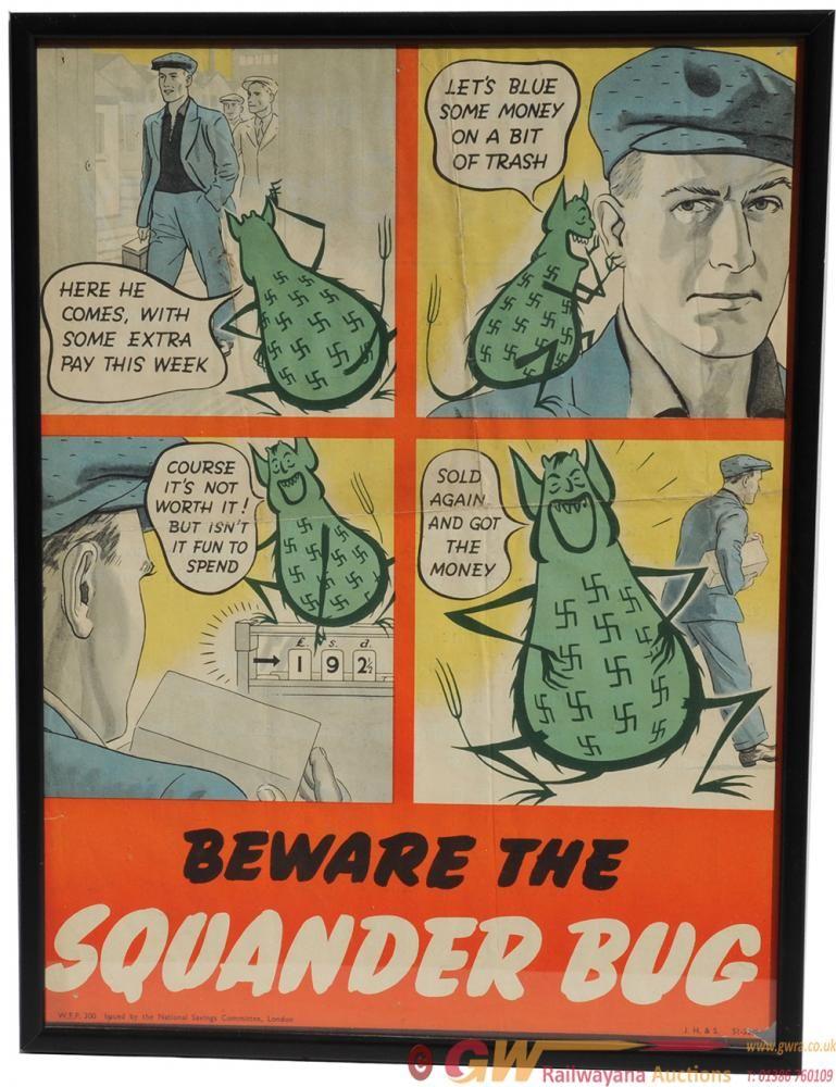 Propaganda Poster Berguna Poster World War Ii Beware the Squander Bug the