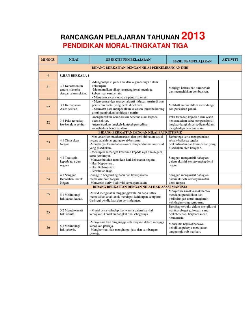 Rpt Pendidikan Moral Tahun 1 Terhebat Rancangan Pengajaran Tahunan Pendidikan Moral Tingkatan 3 Pdf Flipbook Of Muat Turun Rpt Pendidikan Moral Tahun 1 Yang Terbaik Khas Untuk Guru-guru Perolehi!