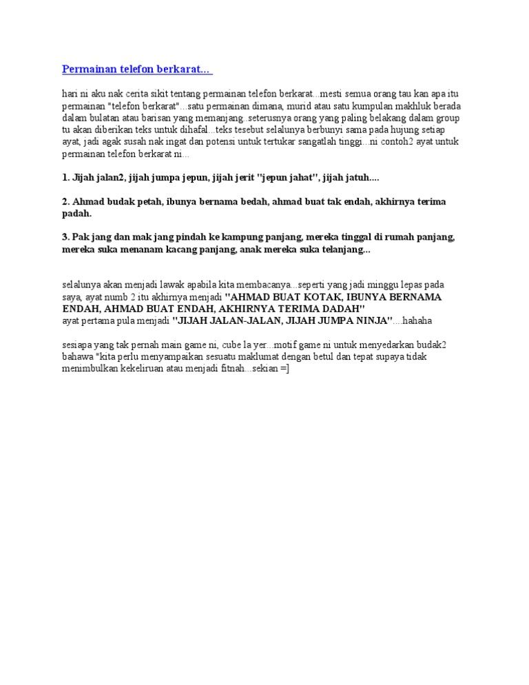Teka Silang Kata Bahasa Melayu Hebat Permainan Telefon Berkarat