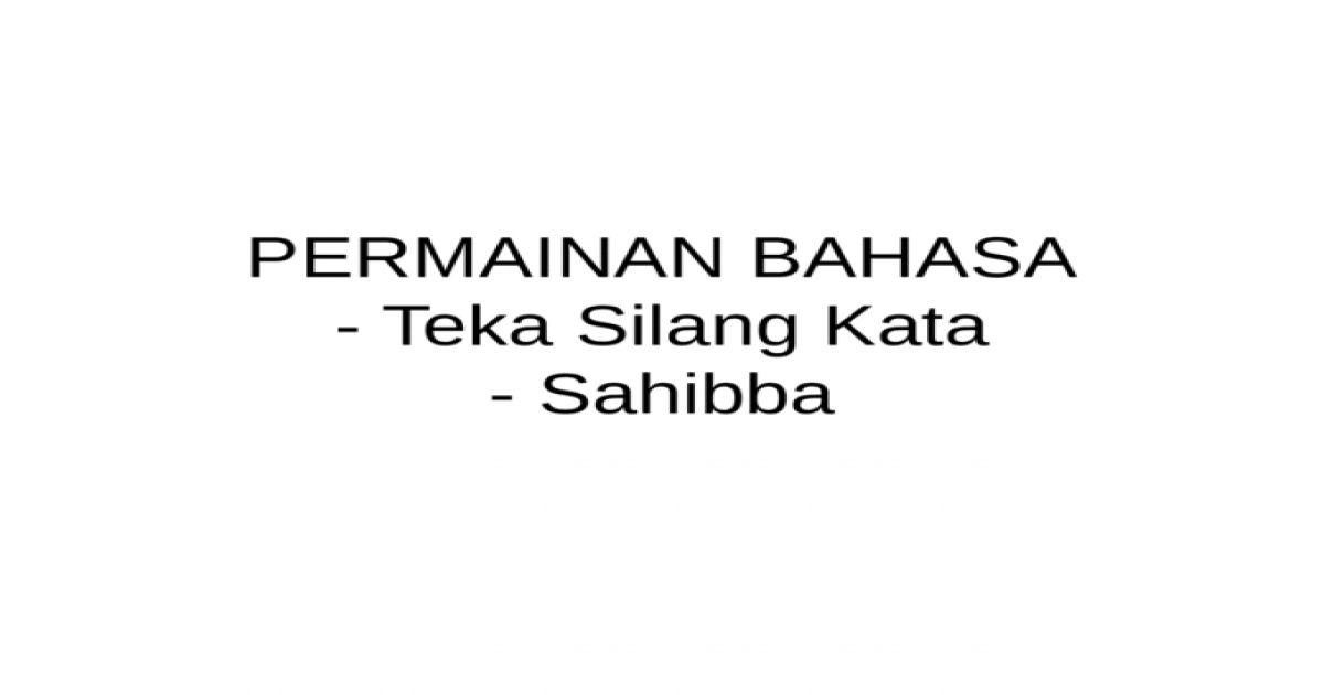 Teka Silang Kata Bahasa Melayu Sekolah Rendah Tahap 1 Terbaik Permainan Bahasa
