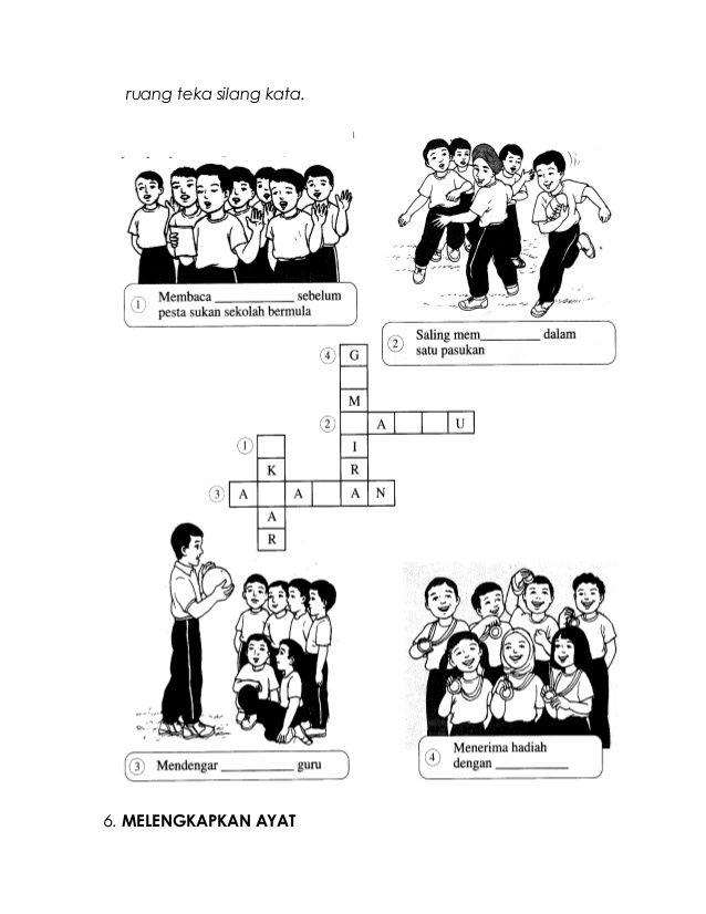 kemudian lengkapkan jawapan pada 39 ruang teka silang kata 6