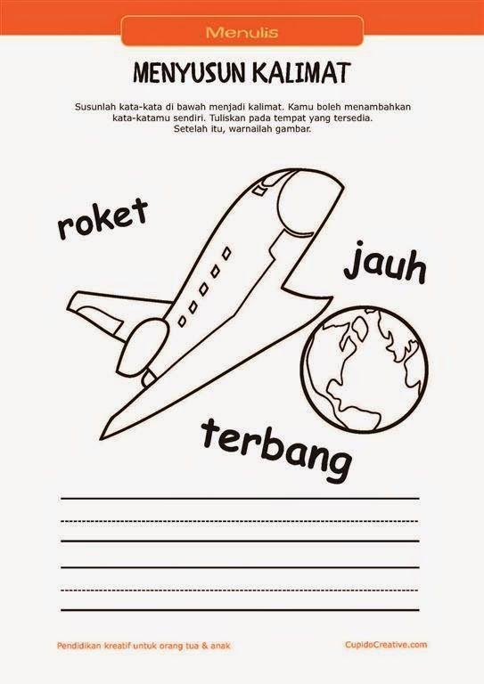 belajar membaca menulis anak tk sd menyusun kata menjadi kalimat mewarnai gambar pesawat ruang angkasa
