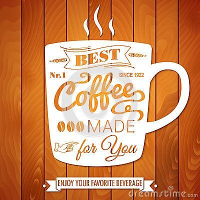vintage coffee poster on a light wooden background by alevtina karro via dreamstime