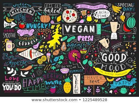 Cafe Poster Bermanfaat Chalkboard Kitchen Art Blackboard Lettering Wall Stock Vector