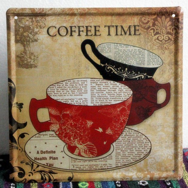vintage coffee time metal sign home kitchen wall decor tin cafe poster ld468