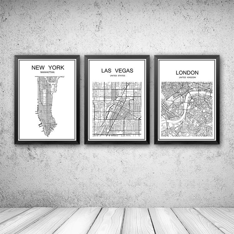 world famous city map abstract poster art kraft paper cafe bar poster retro sketch art decor painting wall sticker 42x30cm wall art murals decals stickers