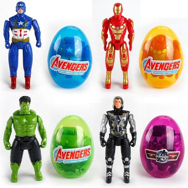 inbeajy marvel mainan avenger super hero captain america iron man deformasi memutar teka teki telur