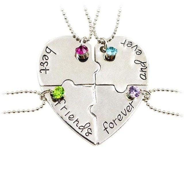 baru populer perhiasan empat bagian dari teka teki berbentuk hati liontin selamanya kalung
