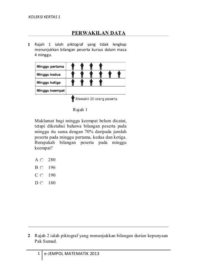 koleksi kertas 1perwakilan data1 rajah 1 ialah piktograf yang tidak lengkapmenunjukkan bilangan peserta kursus dalam masa4
