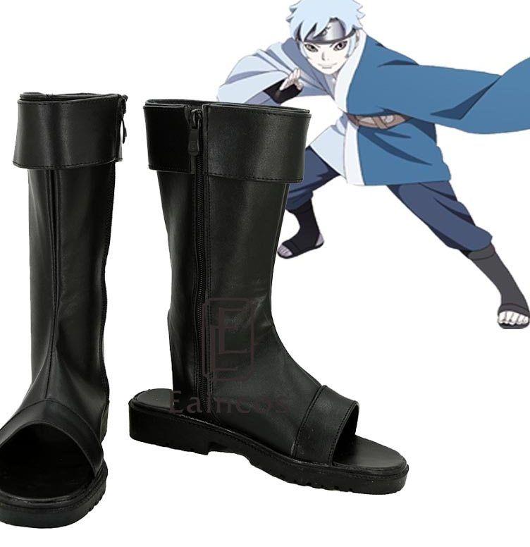 anime naruto uzumaki boruto sepatu pesta cosplay fancy hitam peep toe boots ukuran disesuaikan