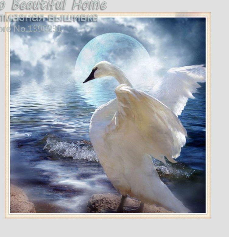 new 3d diy berlian hewan lukisan cross stitch bordir berlian mosaik putih burung dengan bulan gambar decor sh61206