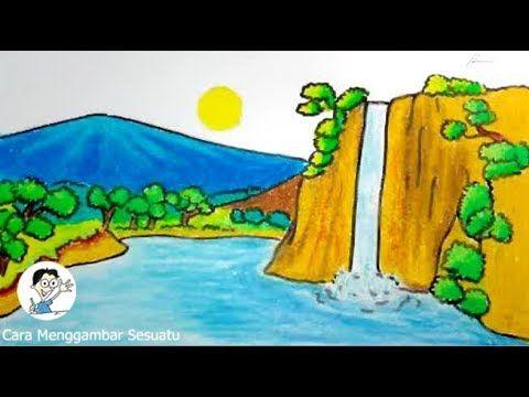 cara menggambar pemandangan air terjun