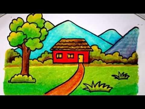Lukisan Pemandangan Untuk Mewarna Hebat Cara Menggambar Rumah Dengan Krayon Untuk Anak Sd Yang Mudah Versi