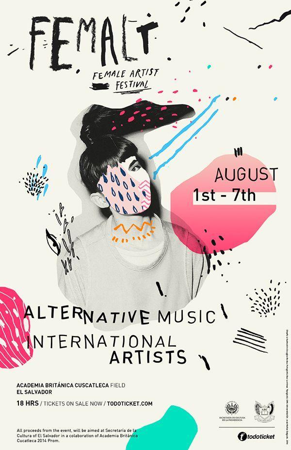 femalt female artist festival by dough rodas via behance music festival postersart