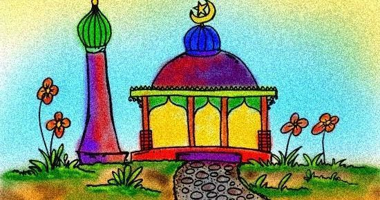 contoh mewarnai masjid www gambar mewarnai com