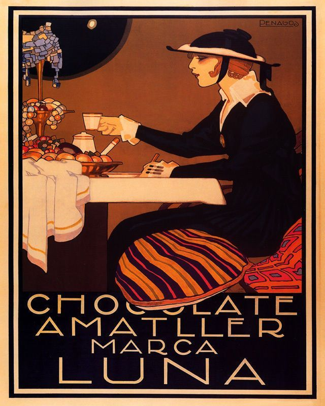 Poster Cafe Bernilai Poster Chocolate Amatller Marca Luna Ladie Moon Hot Cocoa Vintage