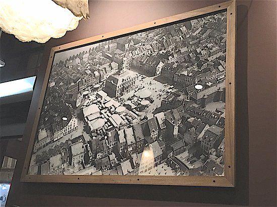cafe de zwaan bel poster d epoca della piazza del mercato