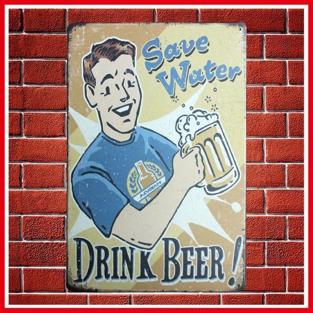 hot hemat air minum beer vintage logam tin sign retro plak poster bar pub klub dinding