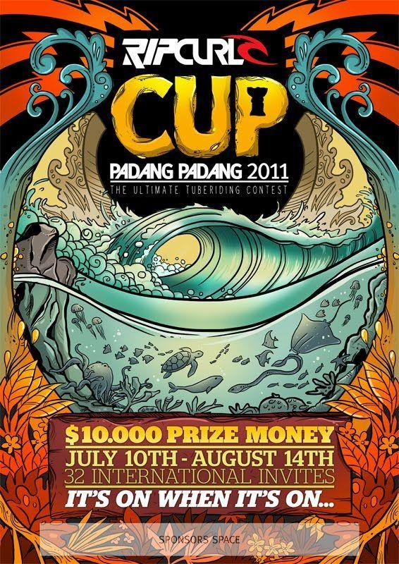 rip curl cup padang padang hawaii surf japanese poster skate art art logo