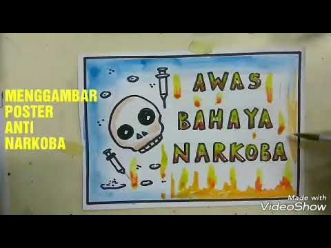 cara menggambar poster bahaya narkoba drawing poster anti dadah