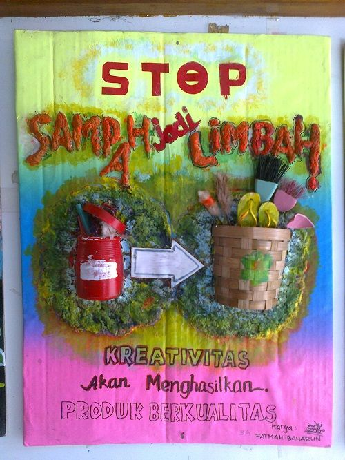 smp nasima menggelar pameran hasta karya dari sampah dan barang bekas beberapa karya siswa dipamerkan berbentuk poster souvenir dan tempat sampah