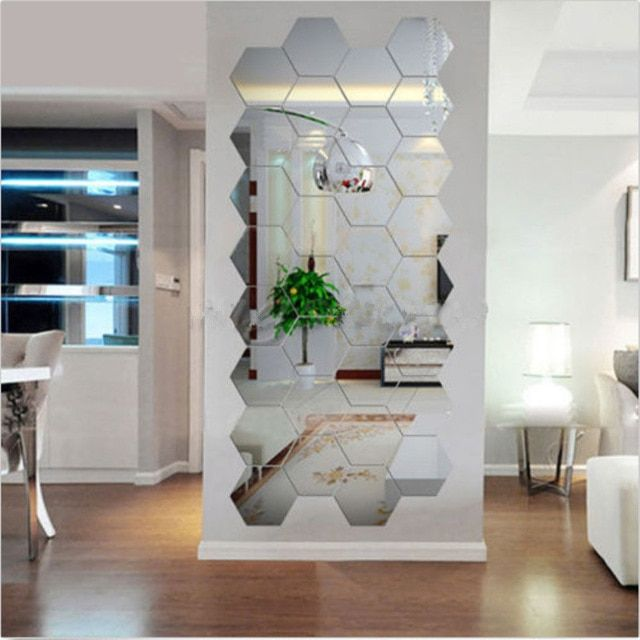 new arrival hot selling 12pcs acrylic silver 3d hexagonal mirror wall stickers home decor removable hotsale