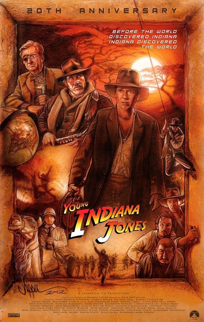 young indiana jones 20th anniversary poster paul shipper illustration