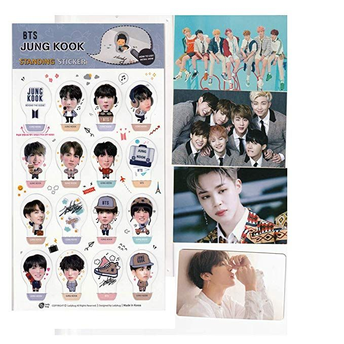 amazon com bts bangtan boys jimin standing stickers bts army decorative bts stickers 16pcs 3 group stickers and 1 random 2 sides photo card fan good