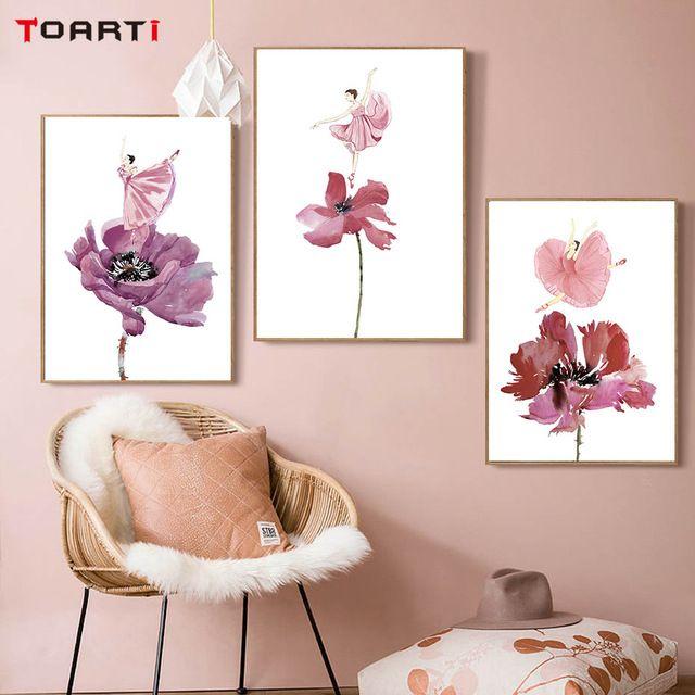 Contoh Poster Bahasa Inggris Baik Modern Abstrak Kanvas Lukisan Minyak Penari Pada Bunga Cat Air
