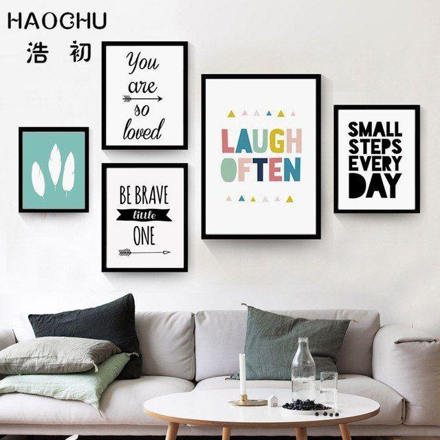 haochu modern minimalis tipografi inspirational huruf kecil langkah setiap hari kanvas lukisan dinding gambar poster home