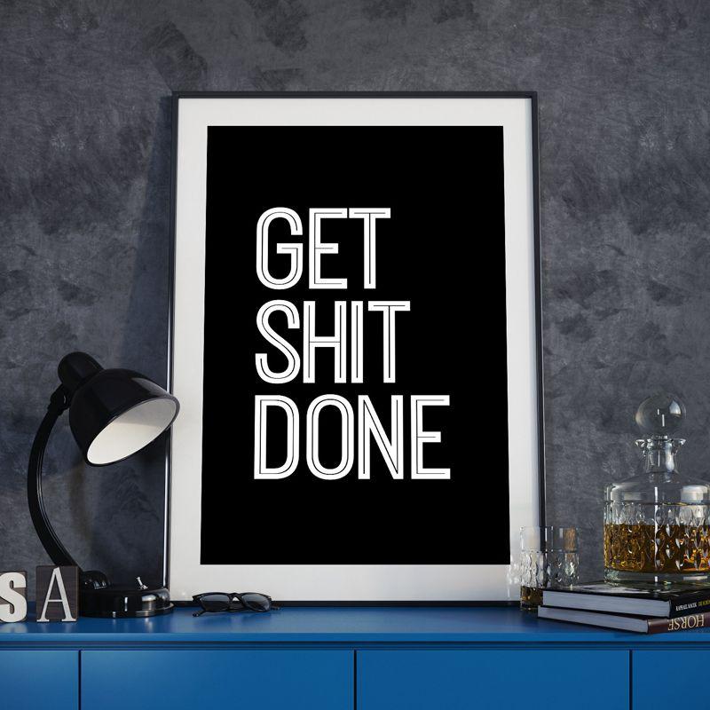 Contoh Poster Dan Slogan Menarik Mendapatkan Kotoran Dilakukan Life Motto Lukisan Kanvas Hitam Putih