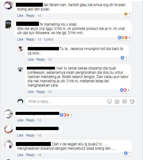 kalau betullah ia sekadar gimik untuk melariskan produk produknya jualannya rasanya makin lingkup perniagaannya sebab netizen ramai yang dah menyampah