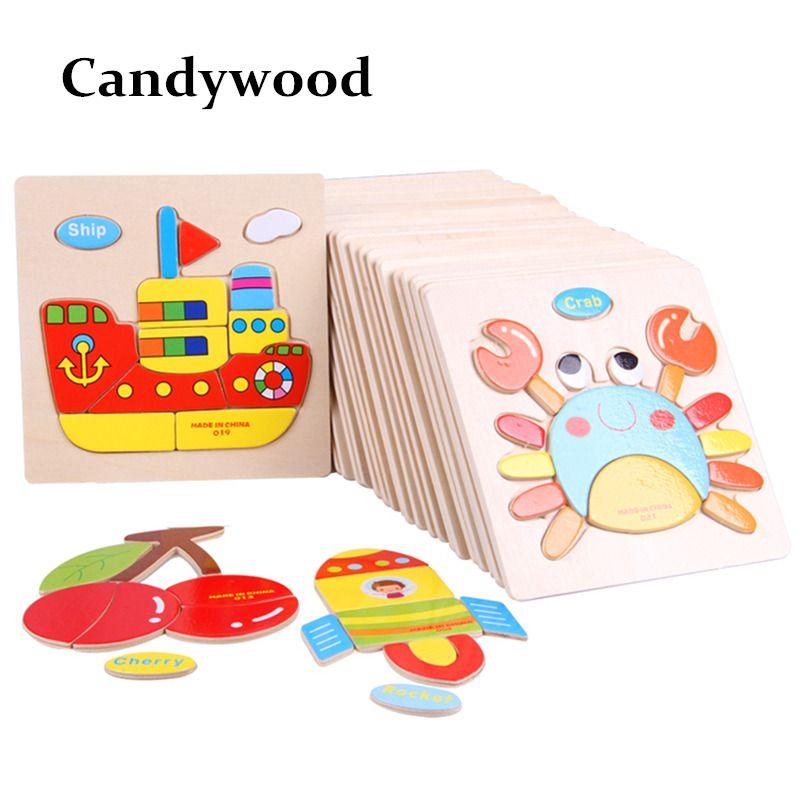 anak anak teka teki 3d jigsaw mainan kayu untuk anak anak kartun hewan lalu lintas teka teki anak anak main