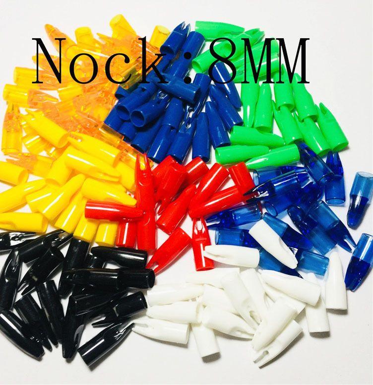 obaadtf 100 pcs lot cone panahan panah nocks plastik tahan dr ekor digunakan untuk od 8mm berburu panah shaft kayu berburu