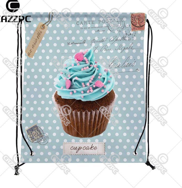 biru hijau antik dot postcard lucu cupcake cate makanan individu kain nilon tas serut sepatu penyimpanan debu pak 4