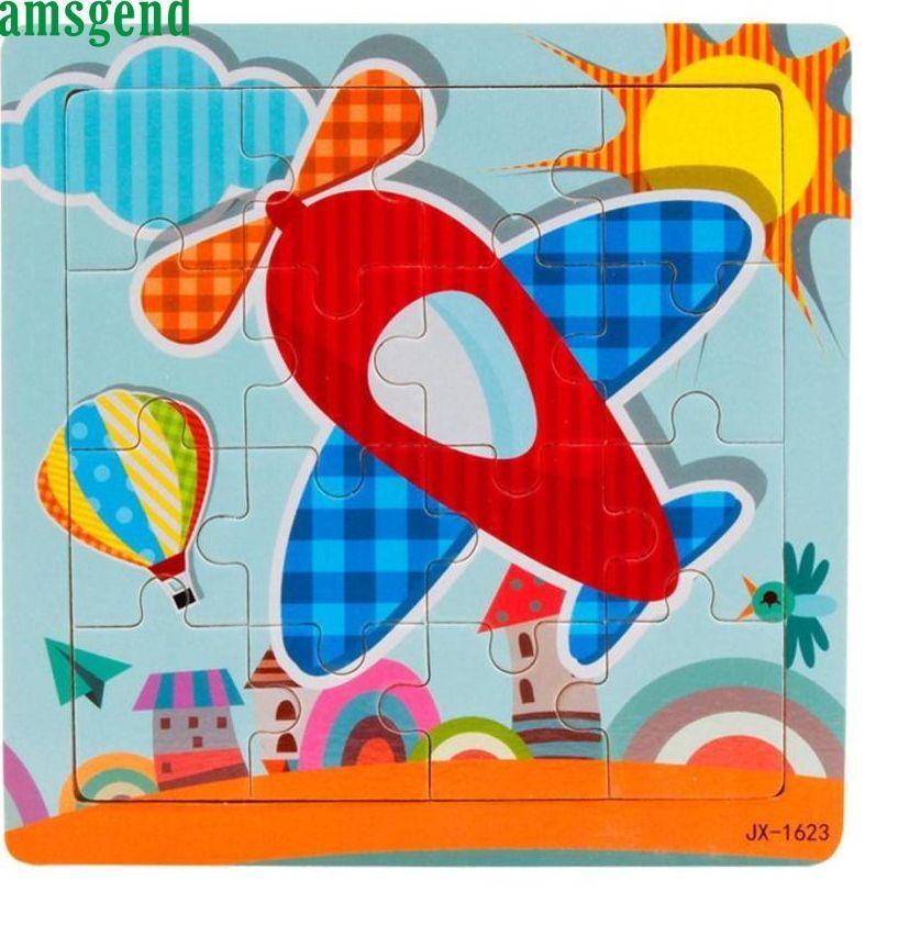 anak anak 16 piece jigsaw kayu mainan untuk anak anak teka teki mainan pendidikan dan pembelajaran