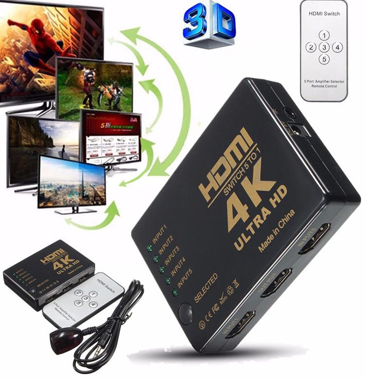 mayitr 1 set 3d 1080 p 5 port mini hdmi switcher 4 k hdmi beralih switcher selector splitter dengan hub ir remote untuk hdtv dvd