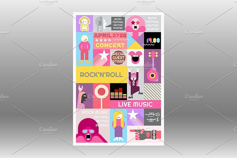 gig poster templates rock concert poster template illustrations creative market