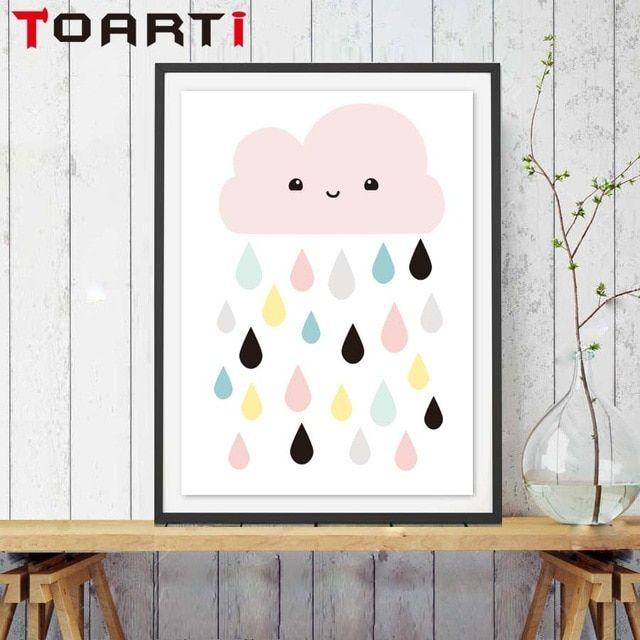 Desain Poster Bernilai Wajah Senyum Awan Hujan Seni Cetak Poster Desain Kartun Dinding