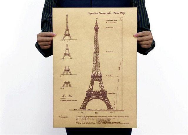 dekorasi rumah vintage 1889 paris menara eiffel gambar desain poster digambar tangan sketsa retro kraft paper