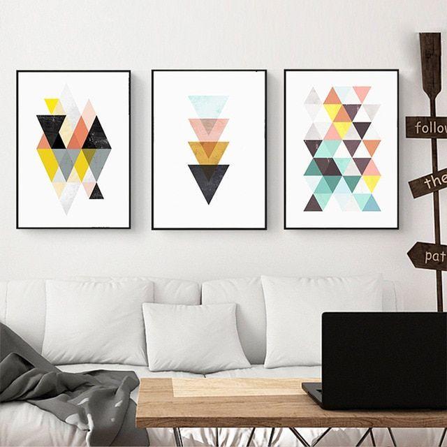 poster kreatif baik abstrak kanvas mural lukisan colorful segitiga gabungan nordic