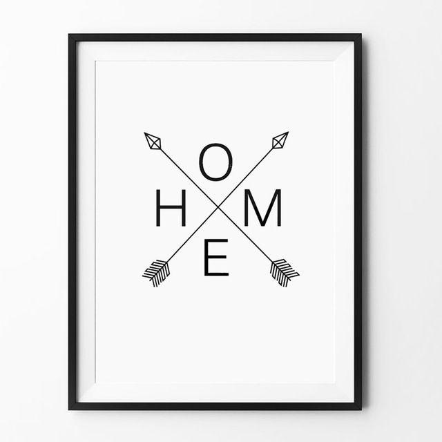 skandinavia rumah panah cetak tanda panah desain grafis poster hitam cat air rumah dinding seni cetak