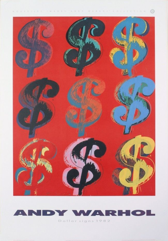 andy warhol nine dollar signs 9 dollar sign exhibition poster andy