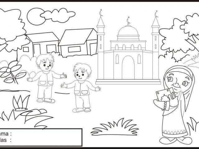 mewarnai gambar islami terkeren gambar mewanai anak muslim annaseha download by size handphone