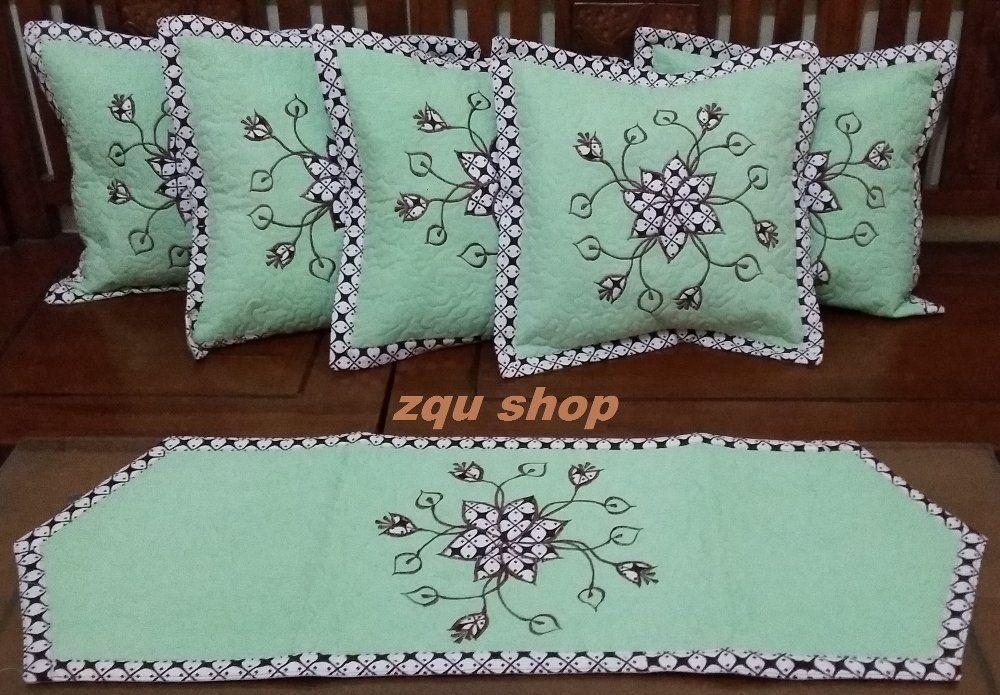 taplak meja dan sarung bantal motif batik hijau